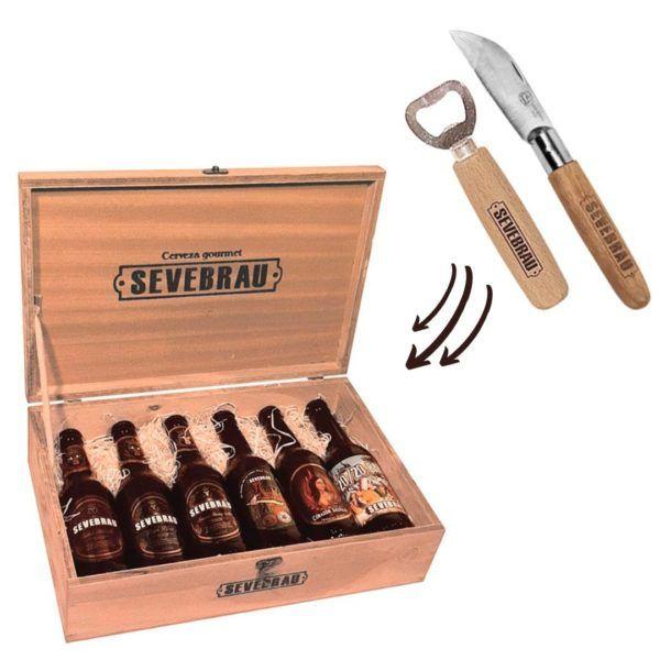 pack de cervezas artesanas, abridor y navaja