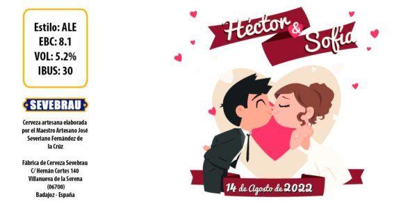 etiqueta para bodas con dibujo personalizada