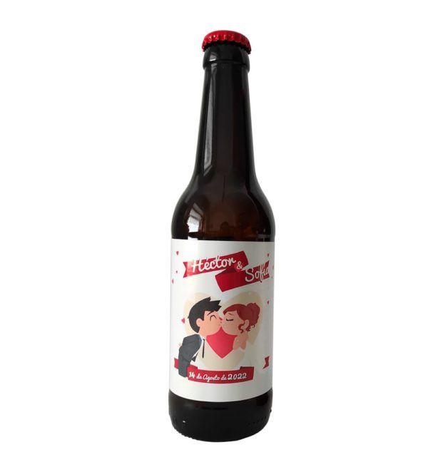 etiqueta cerveza con dibujo para boda