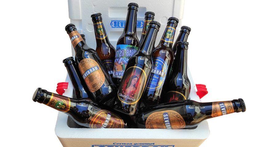 nevera corcho porexpan con cervezas